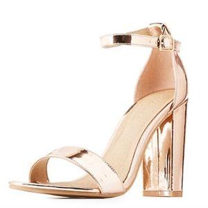 Rose Gold Metallic Ankle Strap Heeled Sandals